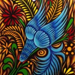 Parajo Azul composed of acrylic, oil, and pastels.