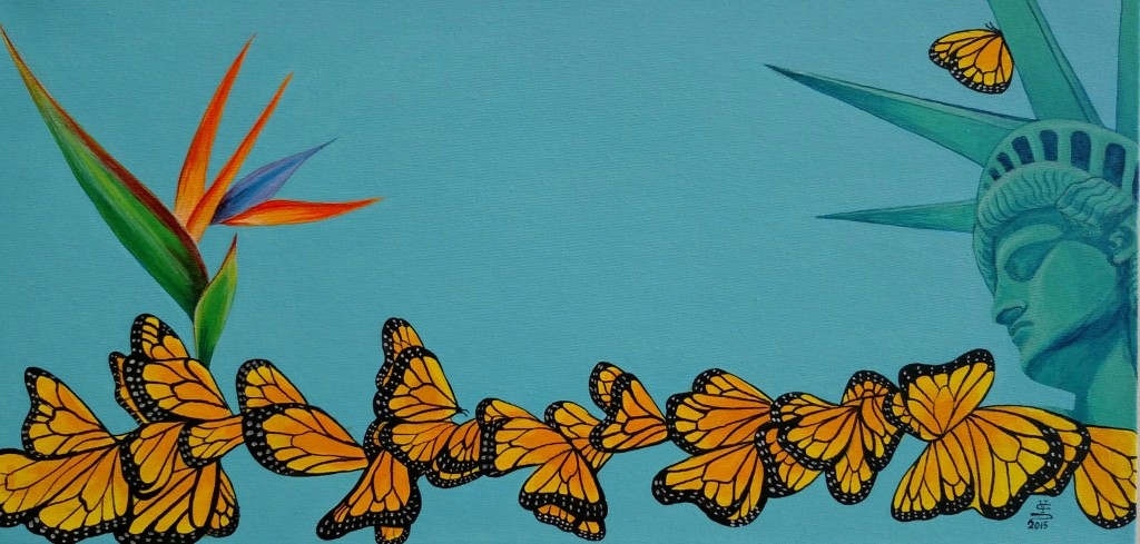 A painting of monarch butterflies flying towards the Statue of Liberty.